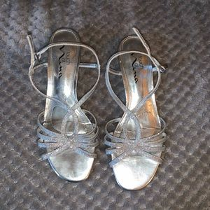Silver Sparkle Wedges Size 6.5